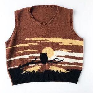Vintage • hand-knit owl sweater vest